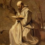 Jean-Baptiste-Camille-Corot-Monk-in-White-Seated-Reading-S